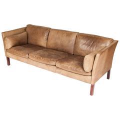 1970s Three-Seat Danish Sofa Upholstered in Brown Buffalo Hide by Mogens Hansen