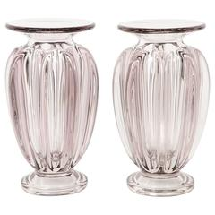 Pair of French D'avesn, Glass Vases, 1950s