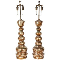 Pair Of Pagoda Form Lamps With Oriental Figures By James