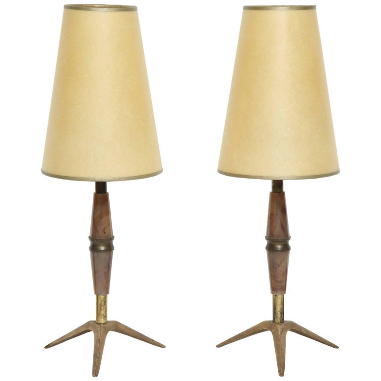 Brass and Bakelite Table Lamps 1