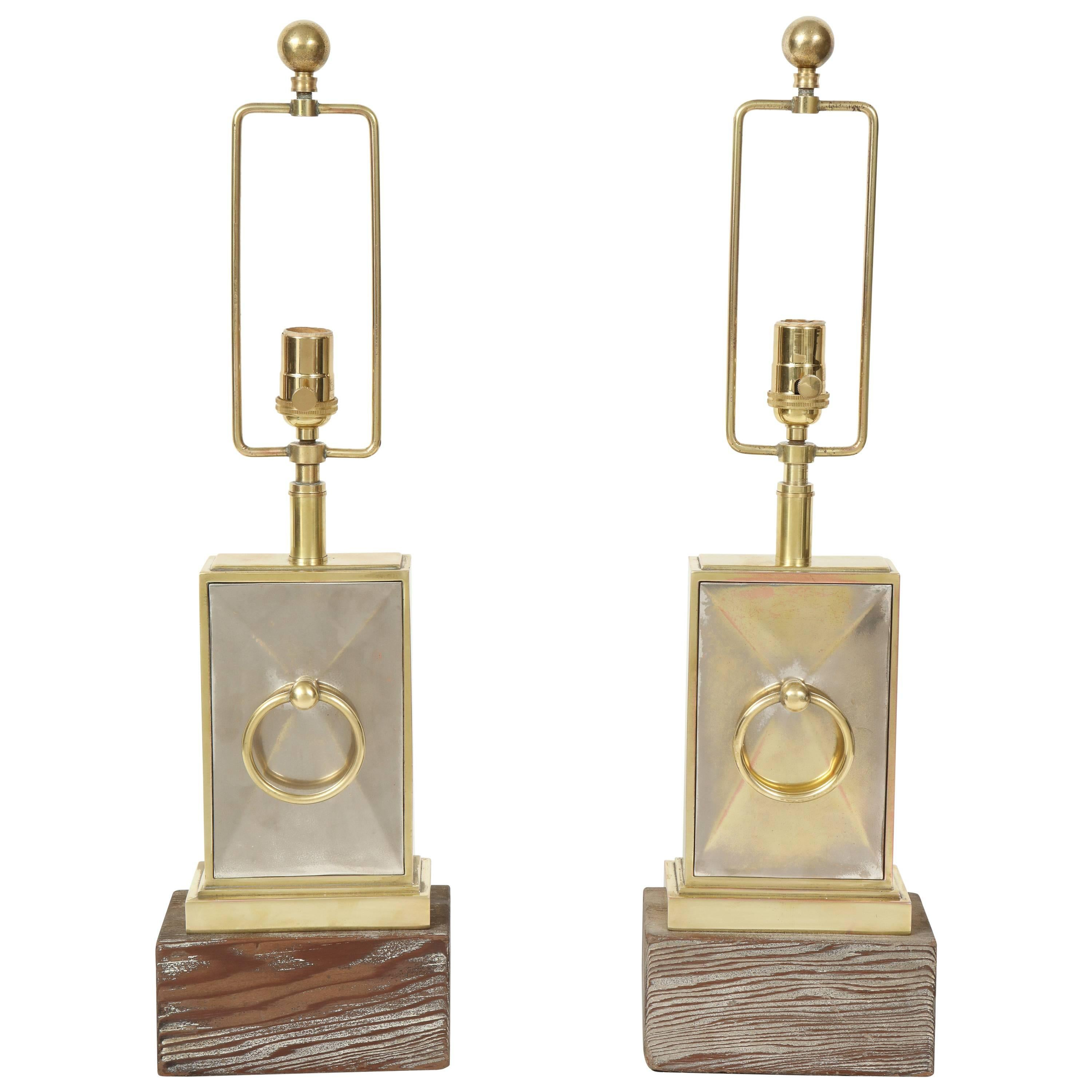 Pair of Brass and Nickel Lamps by James Mont