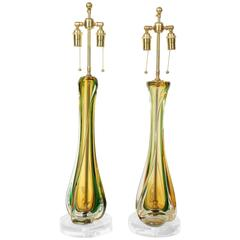 Pair of Murano Lamps by Seguso