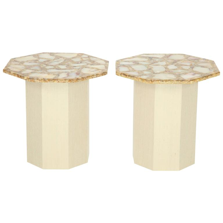 Pair of Octagonal Agate Side Tables