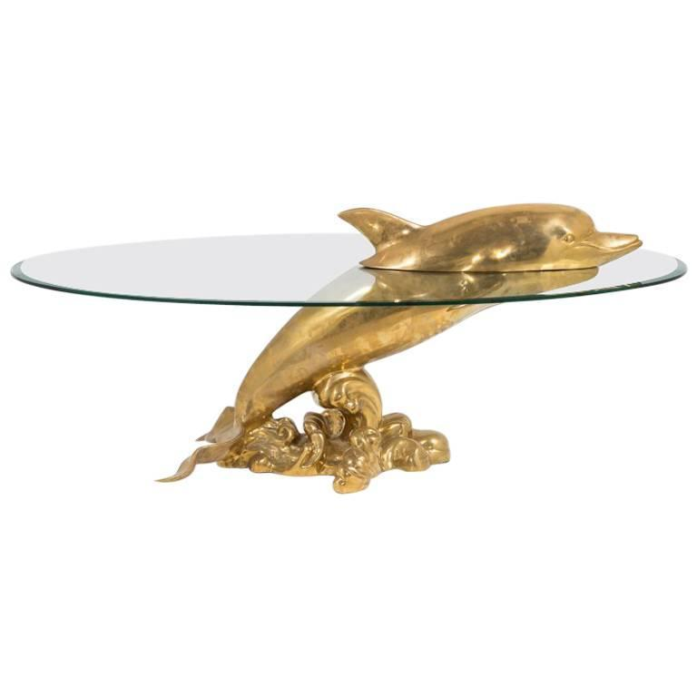 Polished Brass And Glass Dolphin Coffee Table 1960s For Sale At 1stdibs