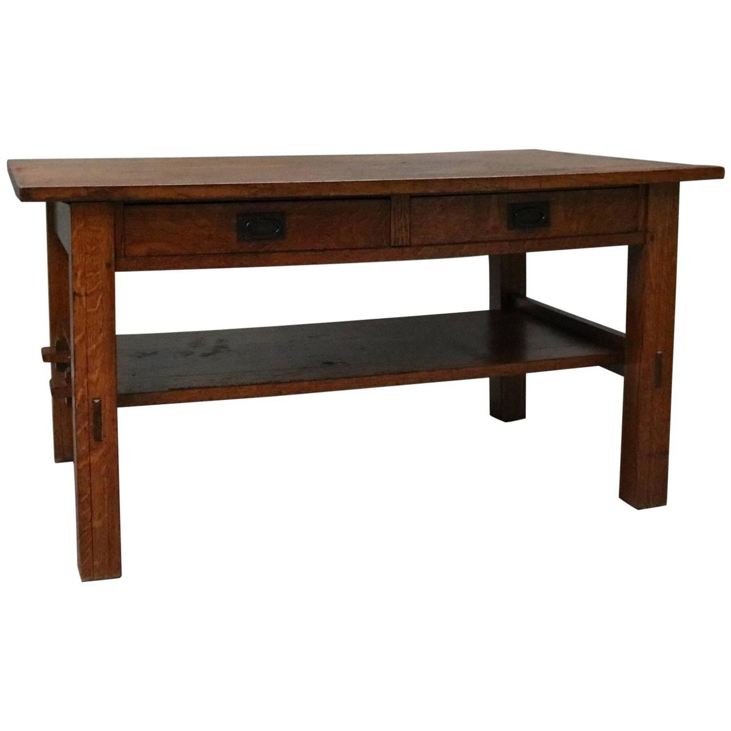 Arts and craft table - Antique Arts Amp Crafts Gustav Stickley Mission Oak Library Table Circa 1910