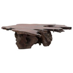 Large Natural Red Wood Biomorphic Coffee Table, 1960s