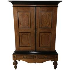 19th Century English Colonial Satinwood and Ebony Linen Press