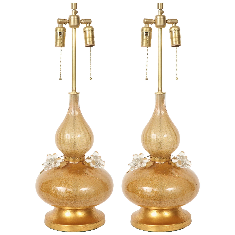 Marbro Gold Murano Glass Lamps
