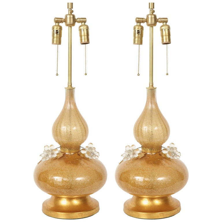 Marbro Gold Murano Glass Lamps For Sale