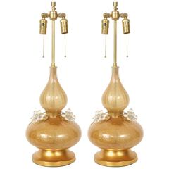 Marbro Gold Murano Glass Lamps