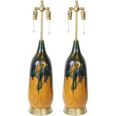 Danish Modern Drip Glaze Lamps