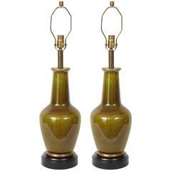 Paul Hanson Moss Green Porcelain Lamps