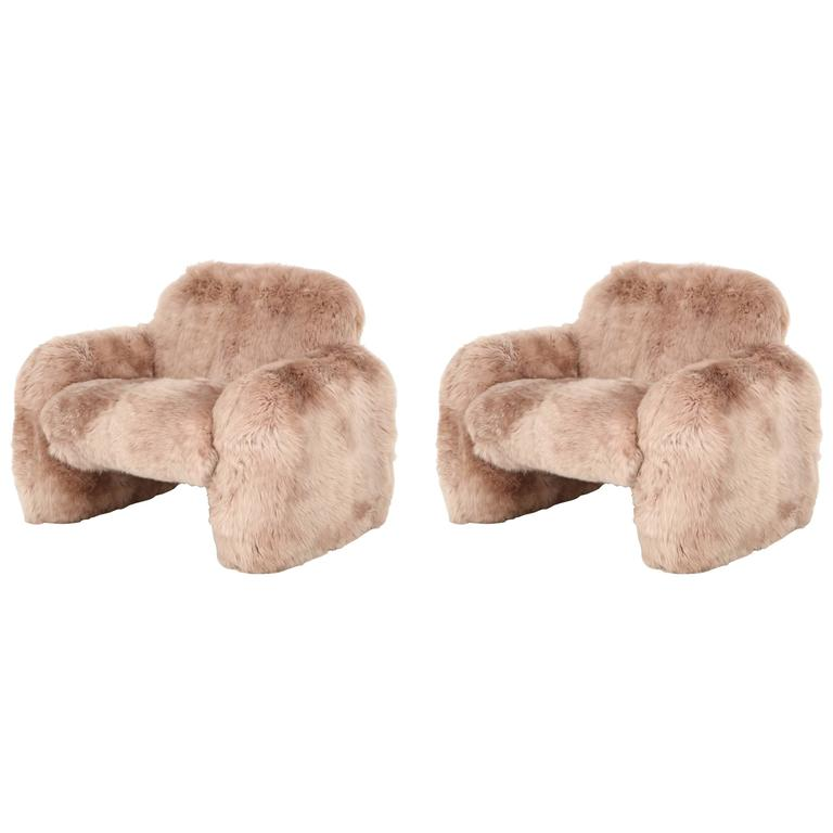 Ray Wilkes New Zealand Sheepskin Club Chairs For Sale