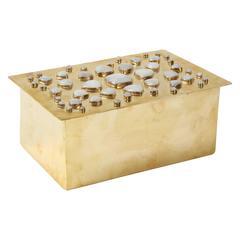Brass and Cabochon Moonstone Keepsake Box