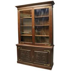 Antique Art Nouveau Tree of Life Mahogany and Bronze Two-Piece Bookshelf