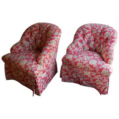 Contemporary Pair of Tufted Bergeres