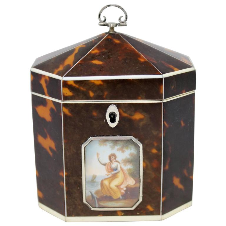 Exceptional Late 18th Century English Tea Caddy in Tortoiseshell For Sale