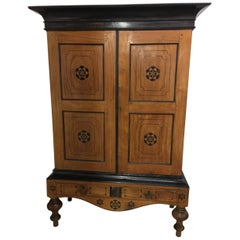 19th Century, Dutch Colonial Satinwood and Ebony Linen Press