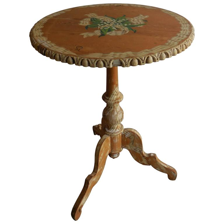 Pine Floral Painted Side Table, 1950s 1