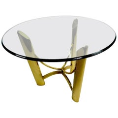 Brass Base Glass Top Table Attributed to Mastercraft