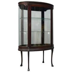 Antique French Carved Mahogany Oval Complete Glass Surround Vitrine, circa 1890