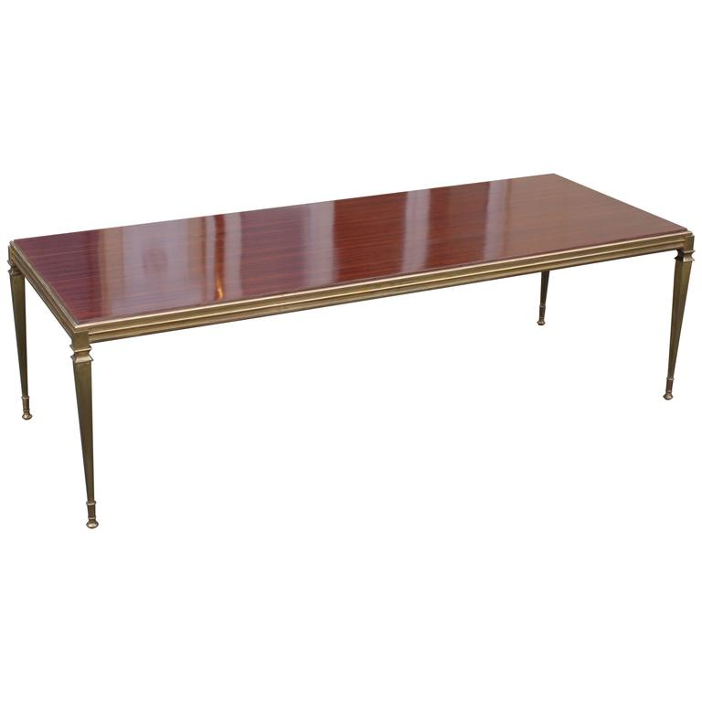 Brass Coffee Table with Walnut Top from 1960s