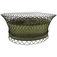 Antique French Tole and Wirework Planter