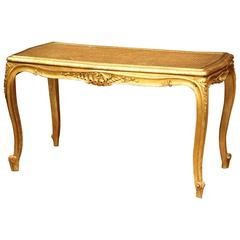19th Century French Louis XV Carved Giltwood Piano Bench with Cane Seat