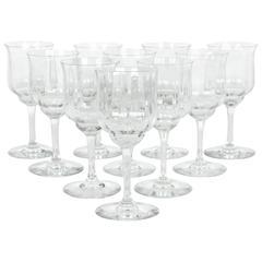 Vintage Baccarat Crystal Wine Glass Set Ten