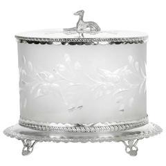 Antique English Oval Cut Crystal Ice Bucket