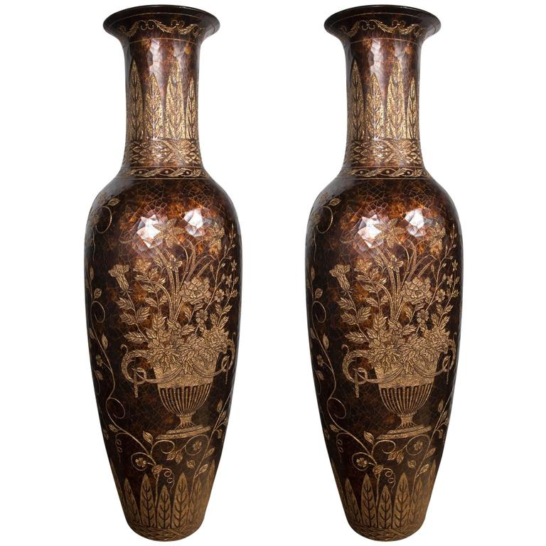 Unusual Pair Of Tall Lacquered And Incised Chinese Floor