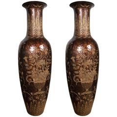 Unusual Pair of Tall Lacquered and Incised Chinese Floor Vases