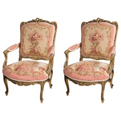 Pair of Painted and Parcel-Gilt Louis XV Style Fauteuils