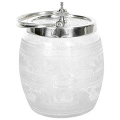 Old English Silver Plate Covered Cut Glass Ice Bucket