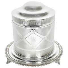 Old English Silver Plate Biscuit Box / Tea Caddy
