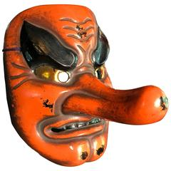 Powerful Japanese Antique Forest God Mask Tengu Dramatic Nose