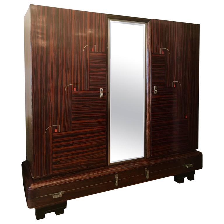De Coene 1930s Belgian Art Deco Cabinet Wardrobe For Sale