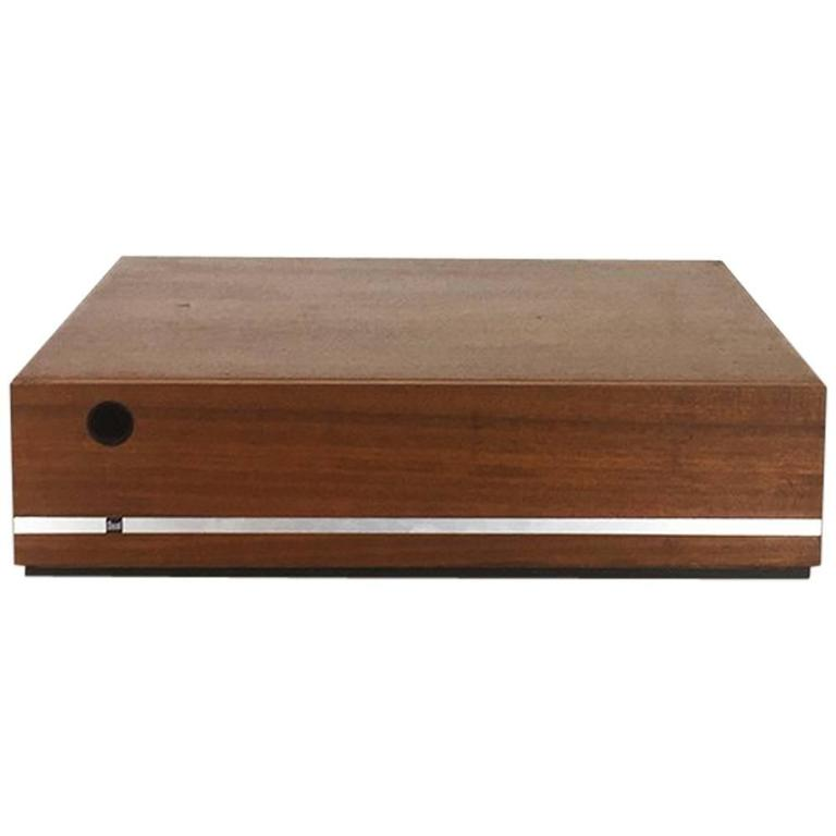 Minimalistic 1960s Walnut Teak Vinyl Record Storage Box By Dual Made In Germany For