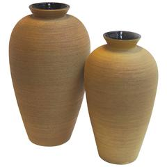 Exceptional Monumental Art Deco Vase Duo in Ochre and Aubergine by Upsala Ekeby