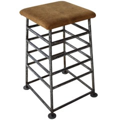 Vintage French Iron Gym Stand or Barstool with Original Suede Leather Top