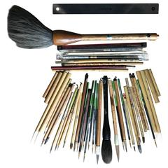 Found! Antique Artisan's Cache of 43 Old Paint and Calligraphy Bamboo Brushes