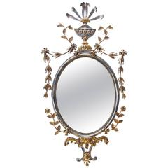 Italian Silver and Gold Gilt Metal Mirror with Trophy Crest; Palladio Attributed