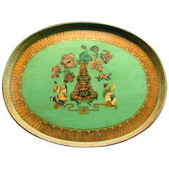 Very Good Chinoiserie Decorated Green Papier-Mache Tray