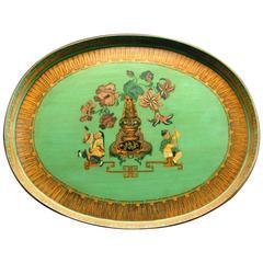 A Very Good Chinoiserie Green Papier-Mache Tray, England Circa 1840