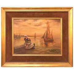 Oil on Canvas 19th Century of a Woman and Child Sitting at the Pier