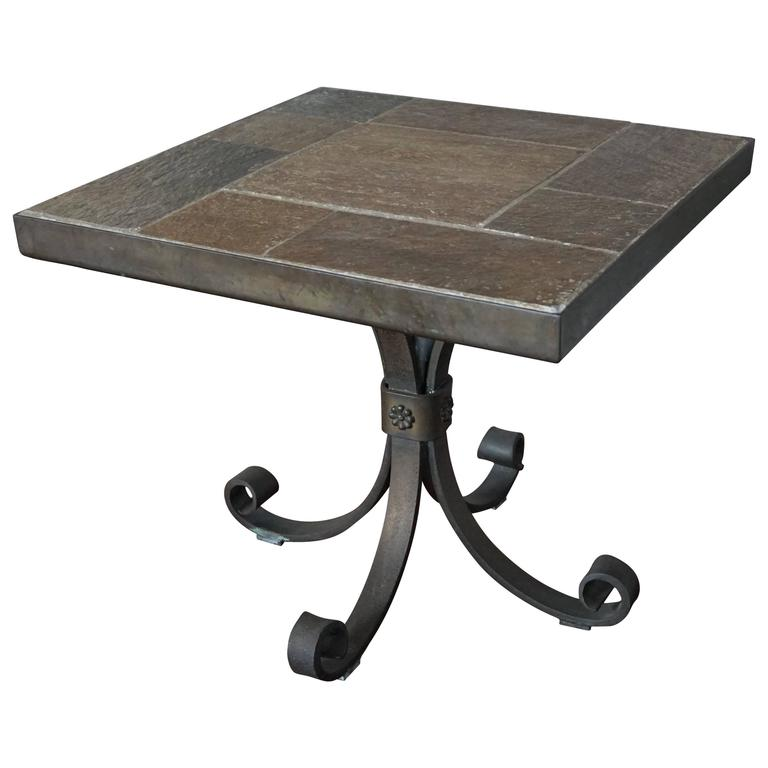 Unique brutalist end or coffee table with slate stone top for Wrought iron coffee table base