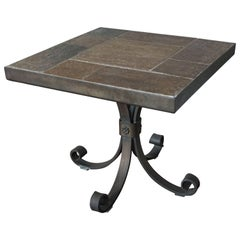 Unique Brutalist End or Coffee Table with Slate Stone Top & Wrought Iron Base