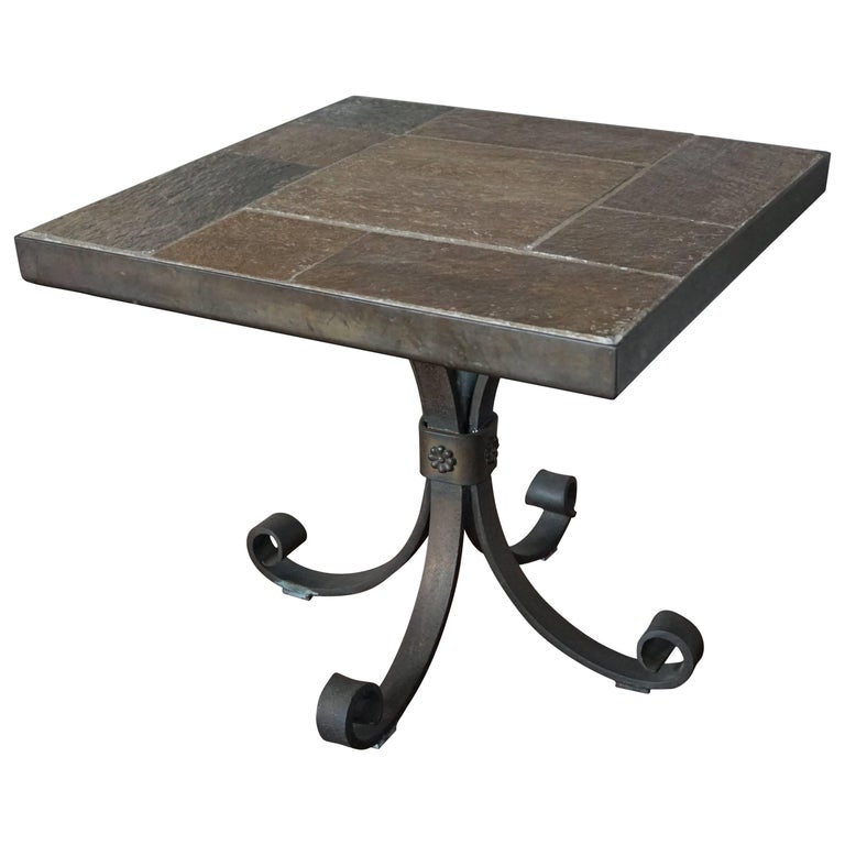 Unique Brutalist End or Coffee Table with Slate Stone Top & Wrought Iron Base For Sale