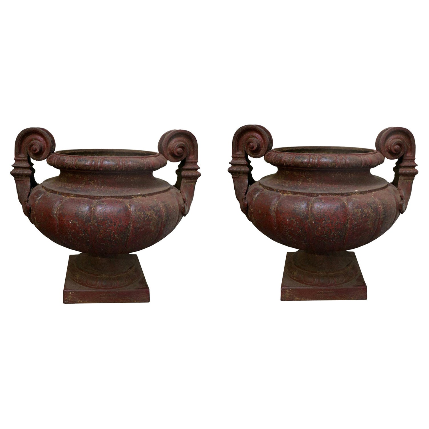 19th Century Pair of Cast Iron Medici Urns Cast by Durenne-Founder in AIX