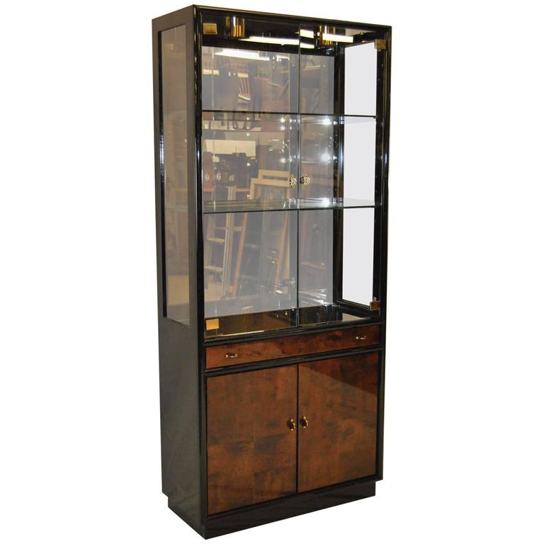 Black Lacquer with Myrtle Burl Fronts Display Cabinet, Henredon ...